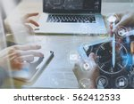 designer businessman hand using ... | Shutterstock . vector #562412533