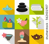 spa icons set. flat... | Shutterstock .eps vector #562431907