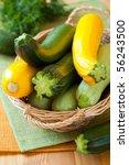 Fresh Yellow And Green Zucchini
