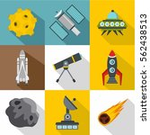 outer space icons set. flat...   Shutterstock .eps vector #562438513