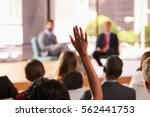 hand in audience raised for a... | Shutterstock . vector #562441753