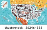 usa map with states   pictorial ... | Shutterstock .eps vector #562464553