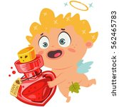 cute cupid with a love potion.... | Shutterstock .eps vector #562465783
