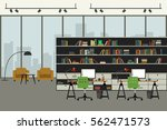 open space office in flat style ... | Shutterstock . vector #562471573