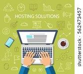 hosting solutions concept. flat ...   Shutterstock .eps vector #562473457