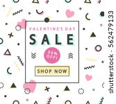 valentines day sale banner with ... | Shutterstock .eps vector #562479133