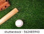 baseball  glove  ball and bat...