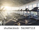 modern gym interior with... | Shutterstock . vector #562487113