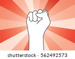 fist uprising in the air and... | Shutterstock .eps vector #562492573