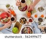 healthy breakfast with fresh... | Shutterstock . vector #562499677