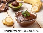 raw vegan pudding with avocado... | Shutterstock . vector #562500673