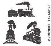 Set Of Trains Icons Isolated O...