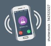 ringing smartphone flat design... | Shutterstock .eps vector #562523227