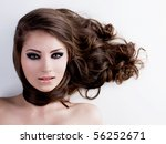 face of a beautiful woman with... | Shutterstock . vector #56252671