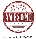 "rubber stamp with text ""awesome""..."