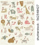 vector zoo alphabet with cute... | Shutterstock .eps vector #562548427