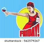 young woman with wine glass and ... | Shutterstock .eps vector #562579267