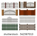 set of gates and fences | Shutterstock .eps vector #562587013