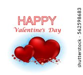 happy valentines day text on... | Shutterstock . vector #562598683