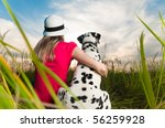 beautiful young woman in hat... | Shutterstock . vector #56259928