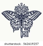 butterfly and key tattoo art.... | Shutterstock .eps vector #562619257