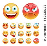 set of cute emoticons on white... | Shutterstock .eps vector #562620133
