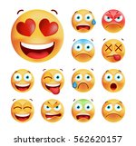 set of cute emoticons on white... | Shutterstock .eps vector #562620157