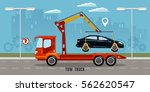 tow truck in the city  tow... | Shutterstock .eps vector #562620547