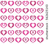 pink hearts seamless pattern.... | Shutterstock .eps vector #562625143