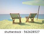 beach with deckchair and...   Shutterstock . vector #562628527