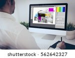 programmer working with ... | Shutterstock . vector #562642327