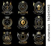 heraldic coat of arms created... | Shutterstock .eps vector #562643443