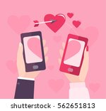 hands are holding smart phone... | Shutterstock .eps vector #562651813
