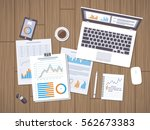 work with documents. workflow... | Shutterstock .eps vector #562673383