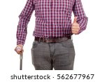 Small photo of Close up picture of a gimpy young man showing thumbs up