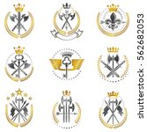 vintage weapon emblems set.... | Shutterstock .eps vector #562682053