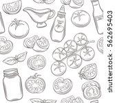 tomato monochrome seamless... | Shutterstock .eps vector #562695403