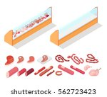 sausages and fresh meat in... | Shutterstock .eps vector #562723423