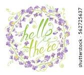 decorative handdrawn floral... | Shutterstock .eps vector #562725637