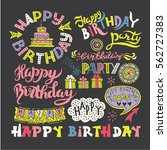 set of happy birthday hand... | Shutterstock .eps vector #562727383