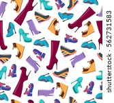 seamless pattern of shoes and... | Shutterstock .eps vector #562731583