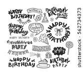 set of happy birthday hand...   Shutterstock .eps vector #562734373