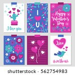 set of six valentine cards with ...