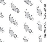 cat seamless pattern doodle gray | Shutterstock .eps vector #562763653