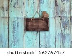 Blank Teal Blue Sign With...