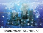 double exposure global map on... | Shutterstock . vector #562781077