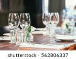 glasses  flowers  fork  knife... | Shutterstock . vector #562806337