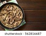 beef stroganoff in frying pan ...   Shutterstock . vector #562816687