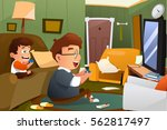 a vector illustration of father ... | Shutterstock .eps vector #562817497