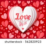 white folded paper big heart... | Shutterstock .eps vector #562820923